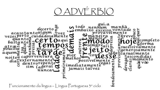 O ADVÉRBIO Funcionamento da língua – Língua Portuguesa 3º ciclo