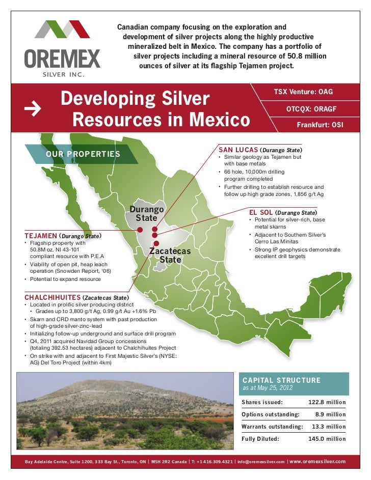 Canadian company focusing on the exploration and                                             development of silver project...