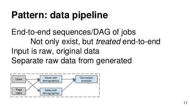 Pattern: data pipeline End-to-end sequences/DAG of jobs Not only exist, but treated end-to-end Input is raw, original data...