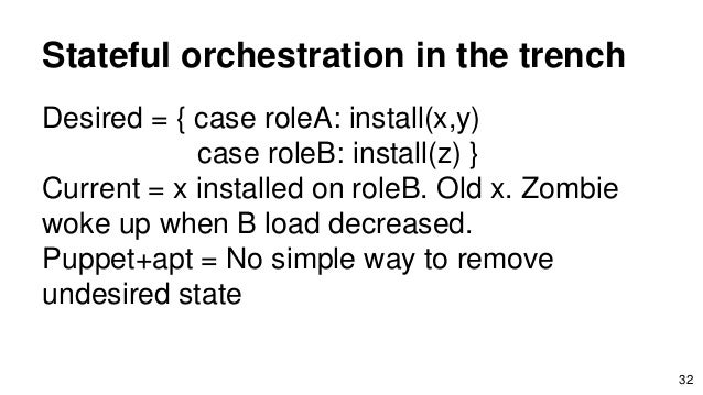 Stateful orchestration in the trench Desired = { case roleA: install(x,y) case roleB: install(z) } Current = x installed o...