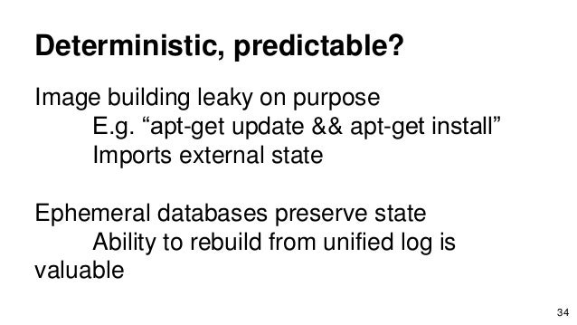 """Deterministic, predictable? Image building leaky on purpose E.g. """"apt-get update && apt-get install"""" Imports external stat..."""