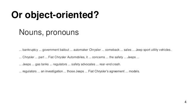 Or object-oriented? Nouns, pronouns ... bankruptcy ... government bailout ... automaker Chrysler ... comeback ... sales .....