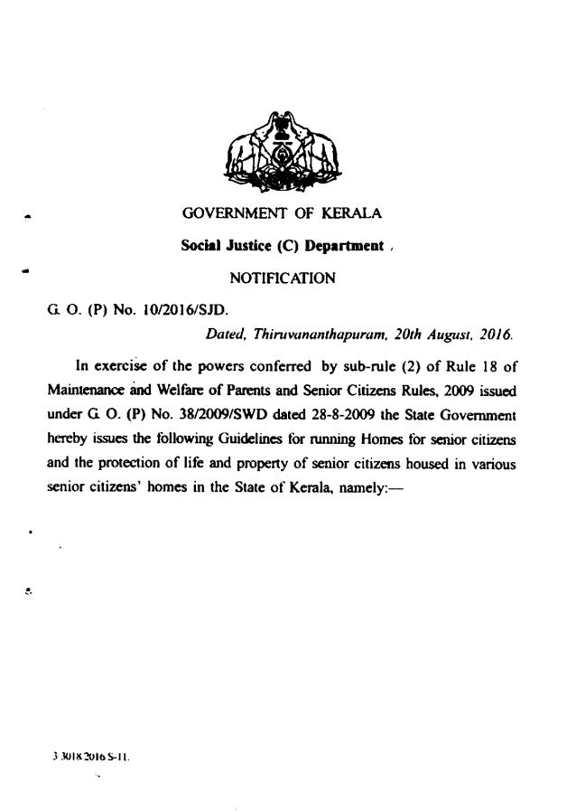 Kerala Government Old Age Homes Guideline 2016