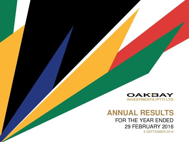 ANNUAL RESULTS FOR THE YEAR ENDED 29 FEBRUARY 2016 8 SEPTEMBER 2016