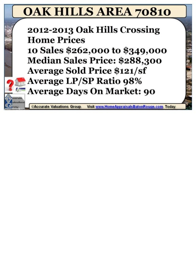 Oak Hills Crossing Subdivision Baton Rouge 70810 Home Prices 2012-2013