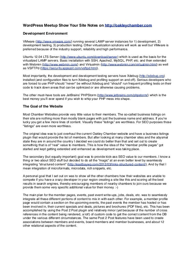 WordPress Meetup Show Your Site Notes on http://oakleychamber.comDevelopment EnvironmentVMware (http://www.vmware.com/) ru...