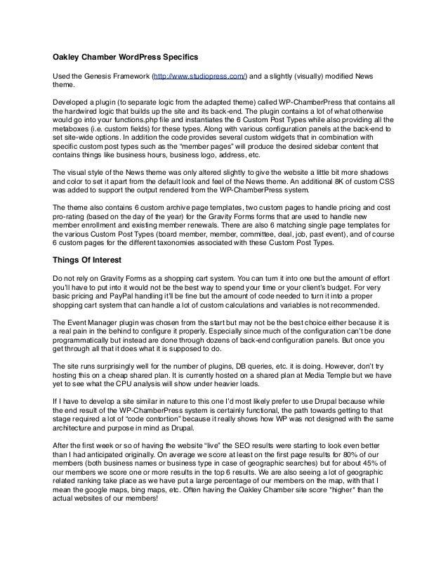 Oakley Chamber WordPress Development Details slideshare - 웹