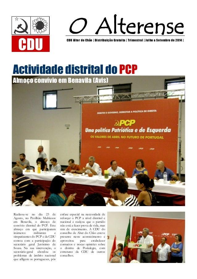 O Alterense  CDU Alter do Chão | Distribuição Gratuita | Trimestral | Julho a Setembro de 2014 |  Actividade distrital do ...
