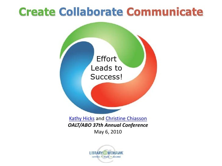 CreateCollaborateCommunicate<br />Effort<br />Leads to<br />Success!<br />Kathy Hicks and Christine Chiasson<br />OALT/ABO...