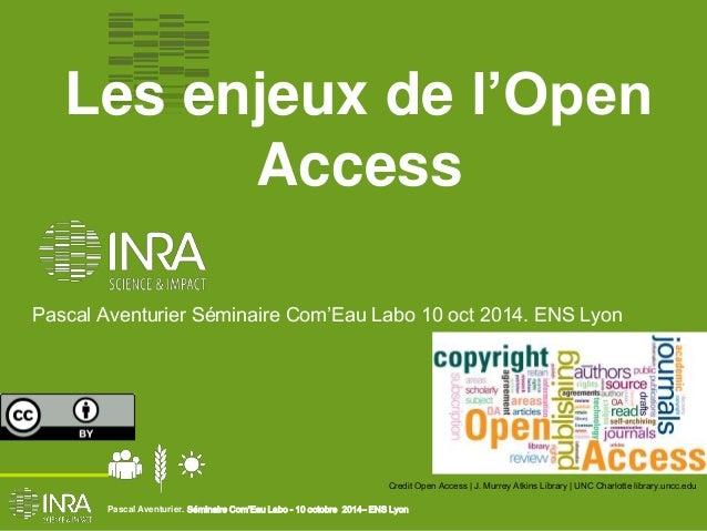 Les enjeux de l'Open  Access  Pascal Aventurier Séminaire Com'Eau Labo 10 oct 2014. ENS Lyon  Credit Open Access | J. Murr...
