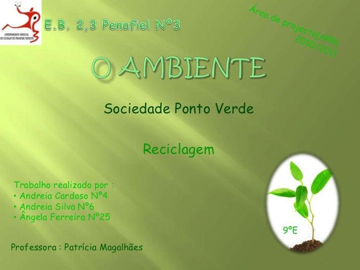 E.B. 2,3 Penafiel Nº3<br />Área de projecto(APR)<br />                    2010/2011<br />O Ambiente<br />Sociedade Ponto V...