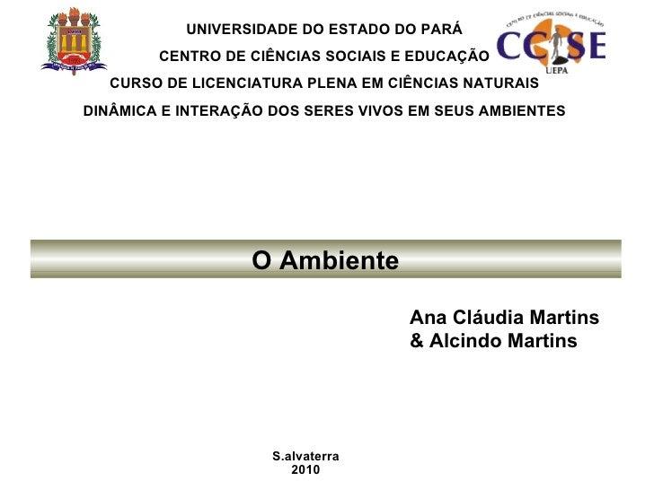 Ana Cláudia Martins & Alcindo Martins UNIVERSIDADE DO ESTADO DO PARÁ CENTRO DE CIÊNCIAS SOCIAIS E EDUCAÇÃO CURSO DE LICENC...
