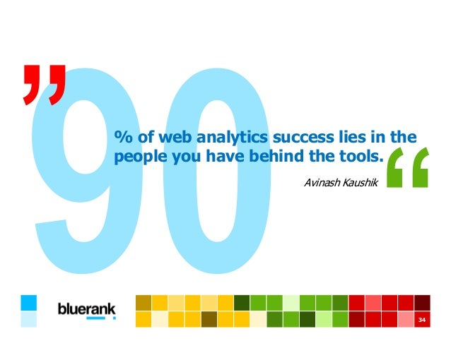 34 Avinash Kaushik % of web analytics success lies in the people you have behind the tools.
