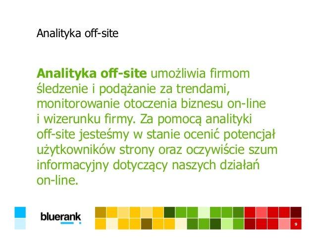 Analityka off-site Analityka off-site umożliwia firmom śledzenie i podążanie za trendami, monitorowanie otoczenia biznesu ...
