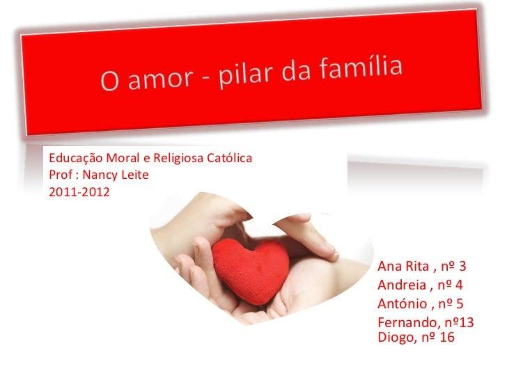 Educação Moral e Religiosa CatólicaProf : Nancy Leite2011-2012                                      Ana Rita , nº 3       ...