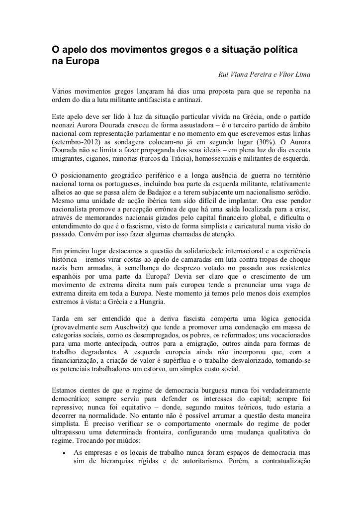 O apelo dos movimentos gregos e a situação políticana Europa                                                        Rui Vi...