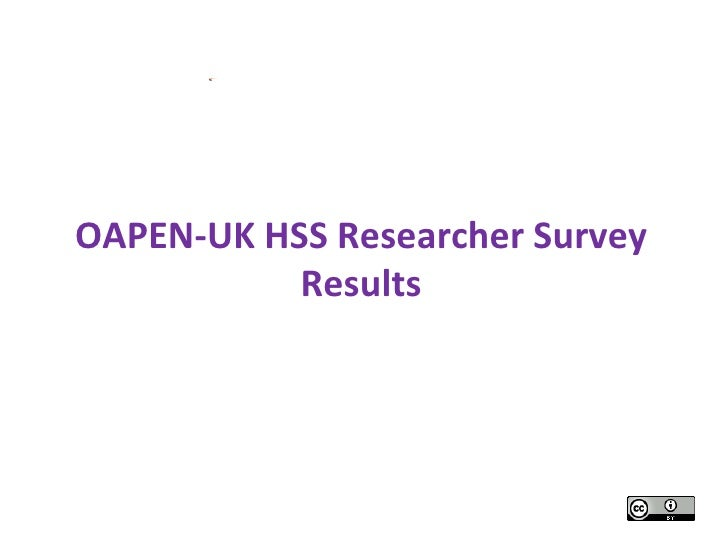 Picture 1OAPEN-UK HSS Researcher Survey           Results