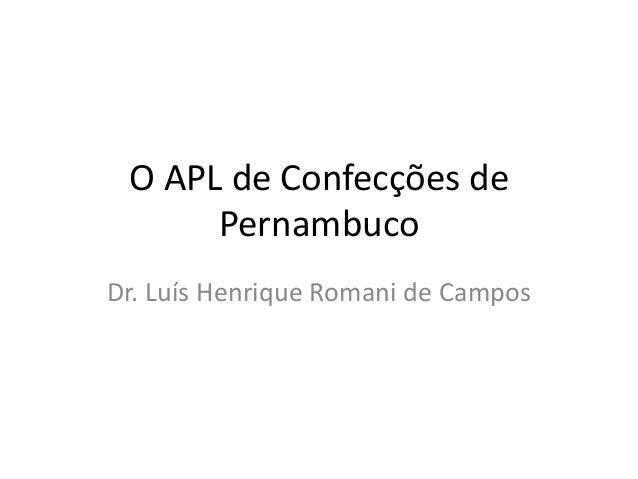 O APL de Confecções de Pernambuco Dr. Luís Henrique Romani de Campos