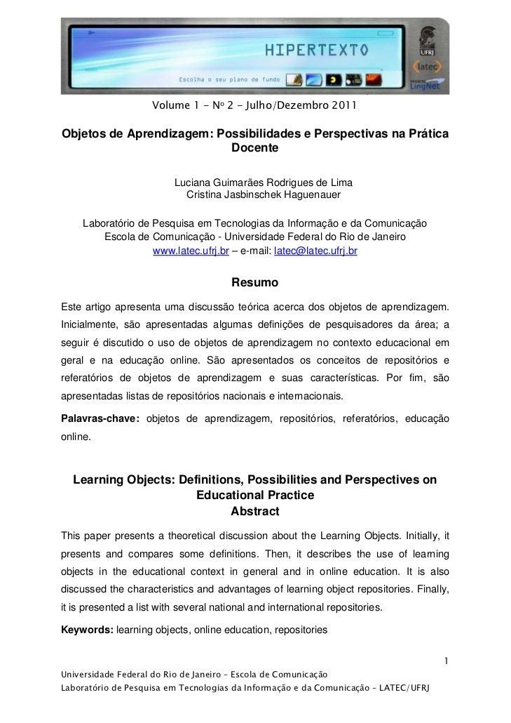 Volume 1 - No 2 - Julho/Dezembro 2011Objetos de Aprendizagem: Possibilidades e Perspectivas na Práti...