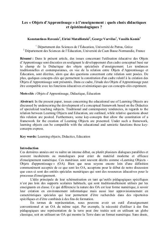 Les « Objets d'Apprentissage » à l'enseignement : quels choix didactiqueset épistémologiques ?Konstantinos Ravanis1, Eirin...