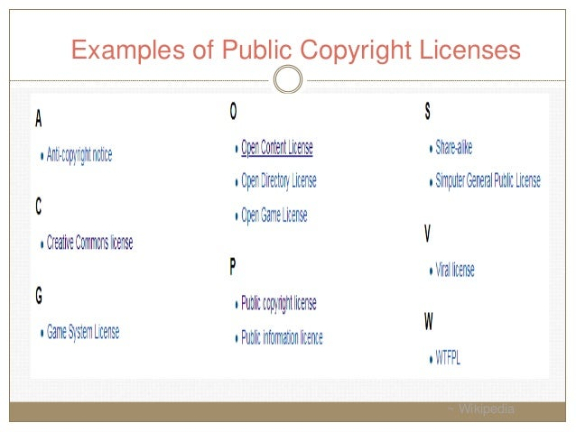 Examples of Public Copyright Licenses ~ Wikipedia