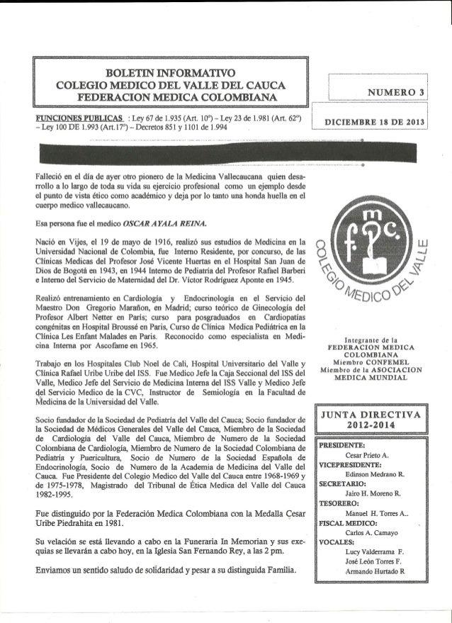 Boletin # 3 2013 del Colegio Médico del Valle del Cauca y la Federación Médica Colombiana. Cali, Colombia 1 de Diciembre d...