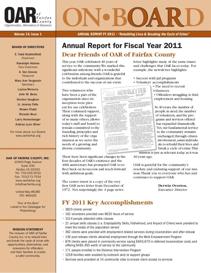 """Volume 14, Issue 1                                     ON•BOARD   ANNUAL REPORT FY 2011 • """"Rebuilding Lives & Breaking the..."""