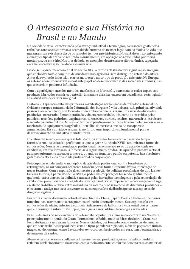 Aparador Romanel ~ O artesanato e sua história no brasil e no mundo