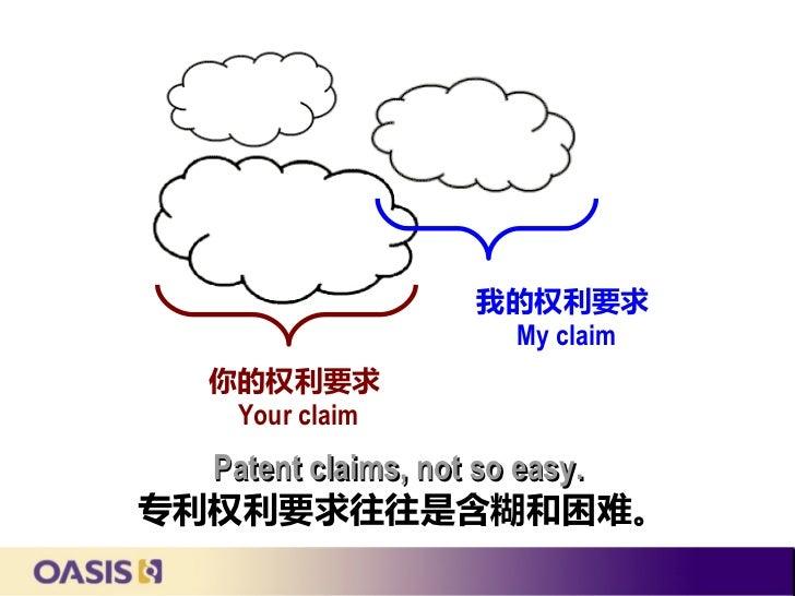 我的权利要求                   My claim   你的权利要求    Your claim  Patent claims, not so easy.专利权利要求往往是含糊和困难。