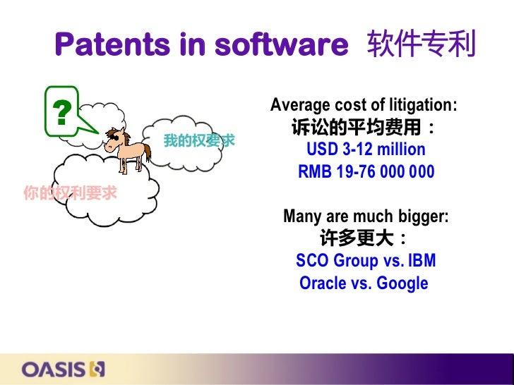 Patents in software 软件专利 ?               Average cost of litigation:                   诉讼的平均费用:         我的权要求             ...