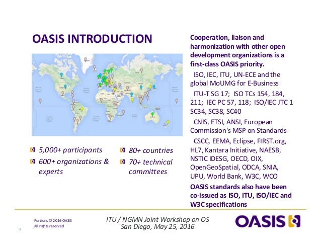 ITU/NGMNJointWorkshoponOS SanDiego,May25,2016 Portions© 2016OASIS Allrightsreserved OASISINTRODUCTION 3 Co...