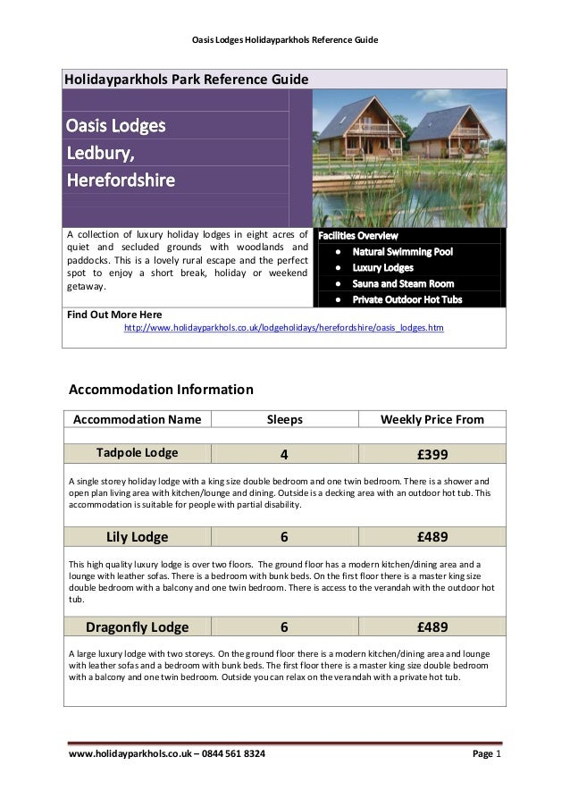 Oasis Lodges Holidayparkhols Reference GuideHolidayparkhols Park Reference GuideA collection of luxury holiday lodges in e...