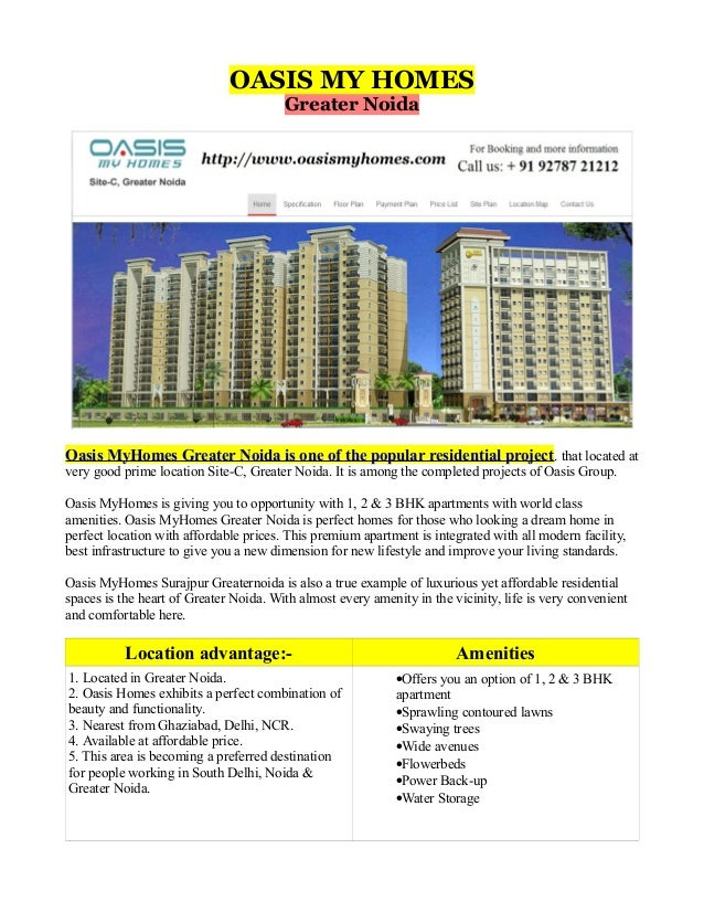 OASIS MY HOMES Greater Noida  Oasis MyHomes Greater Noida is one of the popular residential project . that located at very...