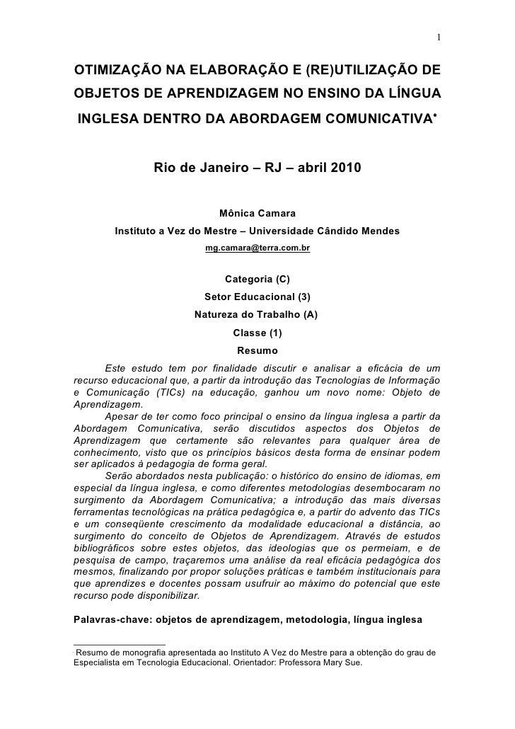 1       OTIMIZAÇÃO NA ELABORAÇÃO E (RE)UTILIZAÇÃO DE     OBJETOS DE APRENDIZAGEM NO ENSINO DA LÍNGUA     INGLESA DENTRO DA...