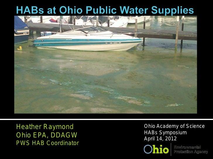 Heather Raymond       Ohio Academy of Science                      HABs SymposiumOhio EPA, DDAGW       April 14, 2012PWS H...