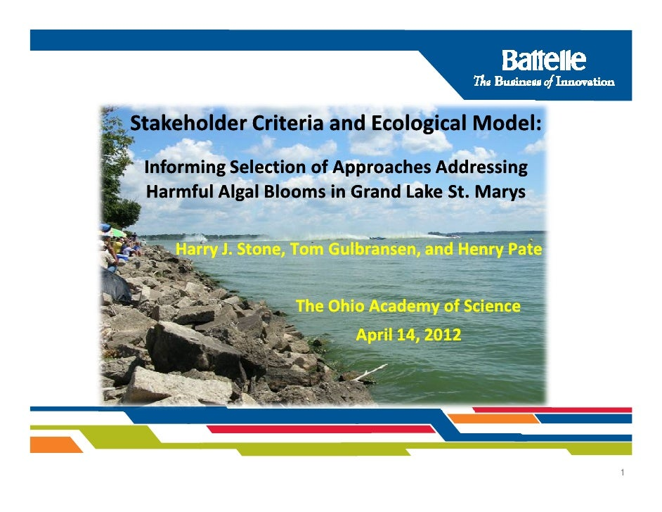 Stakeholder Criteria and Ecological Model: Informing Selection of Approaches Addressing Harmful Algal Blooms in Grand Lake...