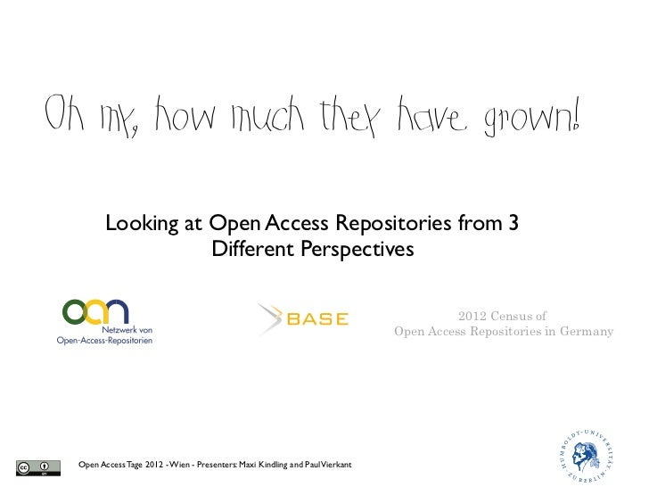 Oh my how much the have grown!     ,            y         Looking at Open Access Repositories from 3                    Di...