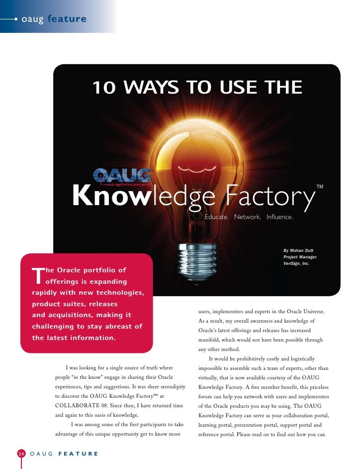 oaug feature                                10 WAYS TO USE THE                       Knowledge Factory                    ...