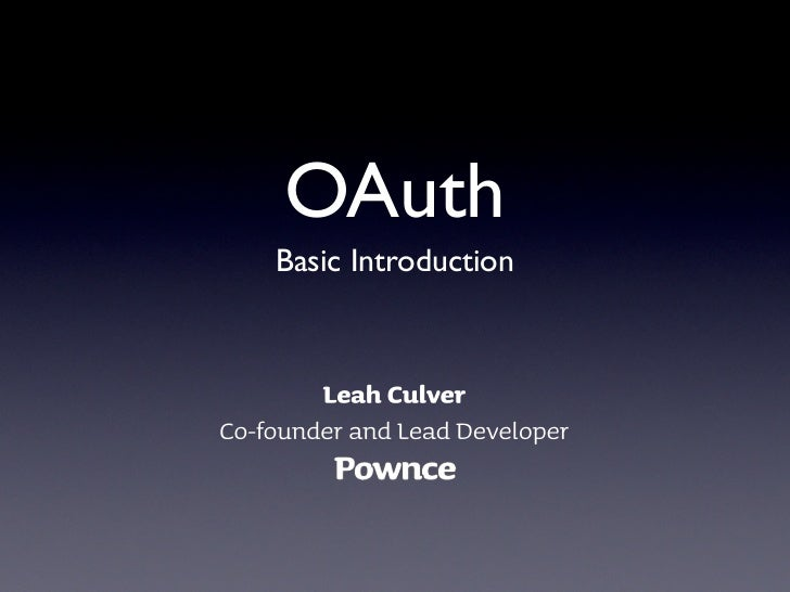 OAuth Basic Introduction