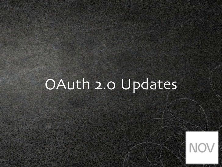 OAuth 2.0 Updates