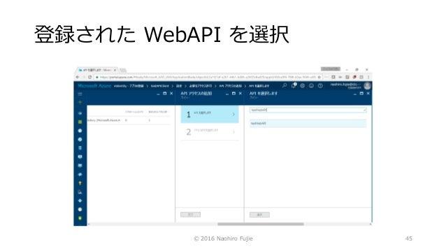 登録された WebAPI を選択 © 2016 Naohiro Fujie 45