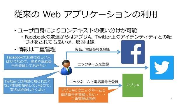 従来の Web アプリケーションの利用 • ユーザ自身によりコンテキストの使い分けが可能 • Facebookの友達からはアプリA、Twitter上のアイデンティティとの紐 づけをされても良いが、反対は嫌 • 情報は二重管理 © 2016 Na...