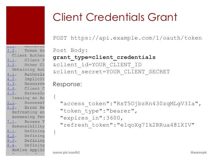 Client Credentials GrantPOST https://api.example.com/1/oauth/tokenPost Body:grant_type=client_credentials&client_id=YOUR_C...
