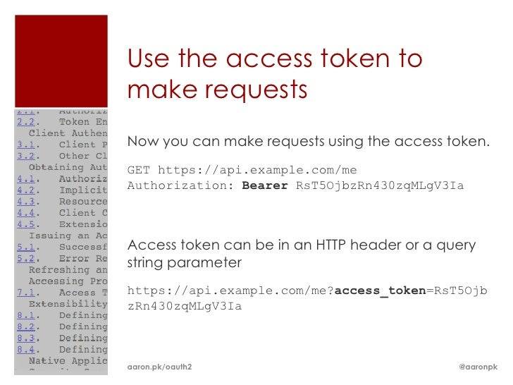 Use the access token tomake