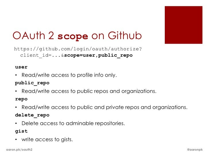 OAuth 2 scope on Github    https://github.com/login/oauth/authorize?      client_id=...&scope=user,public_repo     user   ...