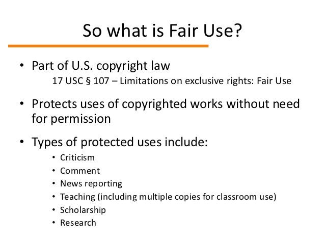 """The """"four factors"""" of Fair Use1. Purpose: how is it being used?2. Nature: what type of work is it?3. Amount: how much of t..."""
