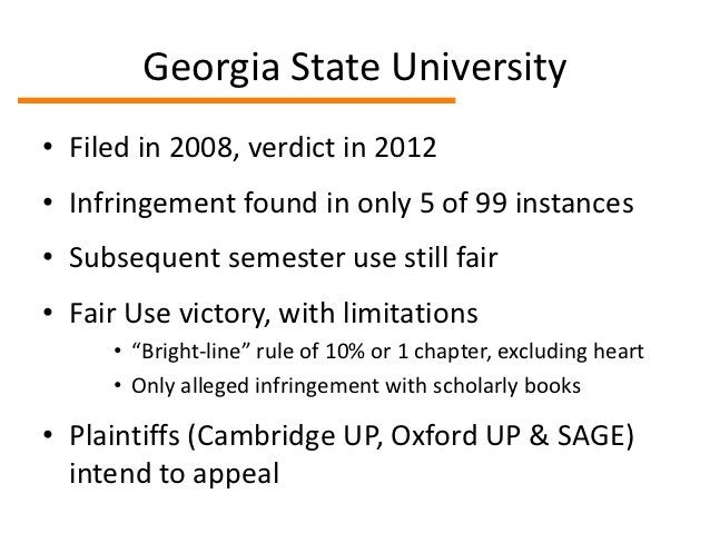 HathiTrust• Filed in 2011, dismissed on summary  judgment in 2012• Resounding Fair Use victory• Argument that library-spec...
