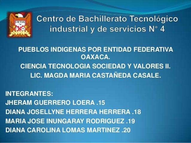 PUEBLOS INDIGENAS POR ENTIDAD FEDERATIVA OAXACA. CIENCIA TECNOLOGIA SOCIEDAD Y VALORES II. LIC. MAGDA MARIA CASTAÑEDA CASA...