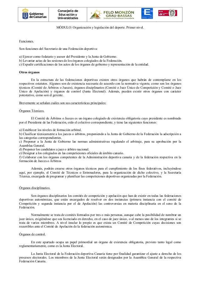 Organizaci n y legislaci n del deporte 1 - Modulos de canarios ...