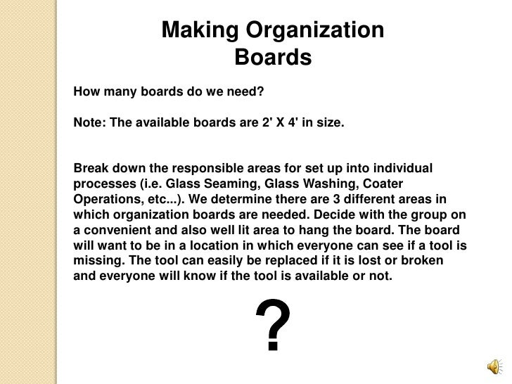 Making Organization Boards<br />How many boards do we need?<br /><br />Note: The available boards are 2' X 4' i...